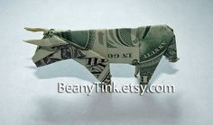 Dollar Origami  Cow  Bull by BeanyTink on Etsy, $18.00