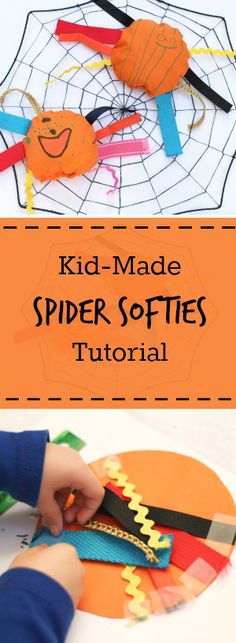 Make a spider softie with kids. 80% of the process is kid-made, from cutting legs, attaching legs, making the faces. A fun sewing projects for kids as young as preschool age!