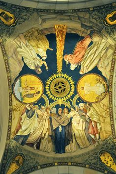 Painting on ceiling of Our Lady, Queen of the Most Holy Rosary Cathedral, Toledo Ohio Holy Rosary Cathedral, Toledo Cathedral, Cathedral Ceilings, Catholic Churches, Toledo Ohio, Cathedrals, Our Lady, Fresco, Murals