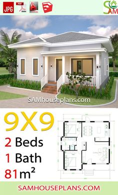 House Plans with 2 Bedrooms Hip Roof - Sam House Plans Simple House Plans, My House Plans, House Floor Plans, House Layout Plans, House Layouts, Modern Bungalow House, Tiny House, Cottage House, House Construction Plan