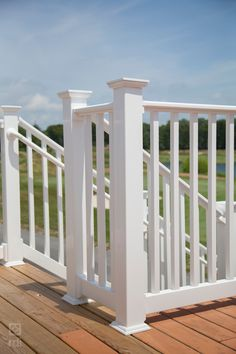 Form and function unite this railing design to maintain safety without sacrificing the elegant presentation of your home or commercial space. Vinyl Deck Railing, Exterior Stair Railing, Outdoor Stair Railing, Deck Railings, Home Porch, Railing Design, Outdoor Living, Outdoor Decor, Front Porches