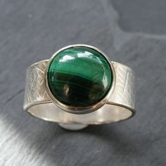 Ring in Sterling Silver with Malachite Hall Marked Hand Forged UK Size T £45.00