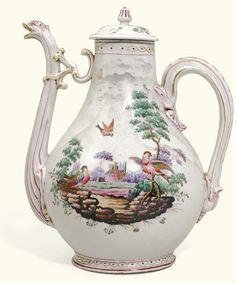 A Doccia porcelain coffee pot and an associated cover, circa 1750, the cover later of elaborate pear form with bird-mask spout and vegetal handle, each side colourfully painted with a vignette of exotic birds in a farm landscape, the later shallow domed cover painted with flower sprays