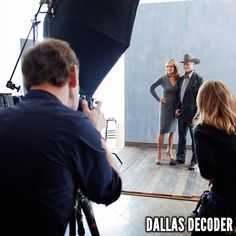 Linda Gray and Larry Hagman are photographed for TNT's #Dallas in 2012.