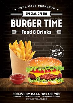 Burger Flyer by RafiqFarzali Burger Flyer, can be used for your fast food restaurant promotion, such as : burger, hotdog, fried chicken, and etcFeaturesSize A4