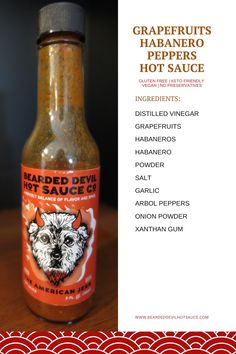Bearded Devil Hot Sauce Co. grapefruits and habanero peppers spicy hot sauce. GLUTEN FREE | KETO FRIENDLY | VEGAN | NO PRESERVATIVES. Made in the USA. Each small batch of our hot sauces are loving crafted and bottled right in Western Pennsylvania. We believe in buying as many of our ingredients from local farmers as we possibly can. #spicypepperssoup #spicynoodlerecipes #hotpepperssauce  #spicyhotsauce #beardeddevilhotsauce Gluten Free Sauces, Vegan Sauces, Spicy Recipes, Gourmet Recipes, Hot Sauces, Spicy Sauce, Vegan Soup, Going Vegan, Farmers