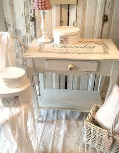 Hand Painted Chalk Paint Console with French Typography