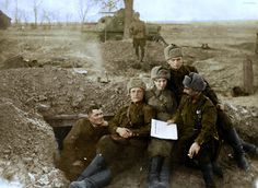 """Soviet servicemen at the dugout position on the Kalinin front 1942 