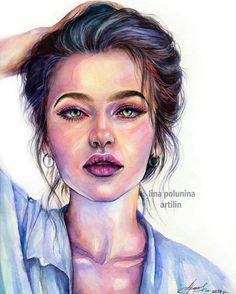 Watercolor portrait by Lina (Artlin) Portrait Au Crayon, Pencil Portrait, Portrait Art, Watercolor Face, Watercolor Portraits, Watercolor Paintings, Watercolor Trees, Watercolor Landscape, Abstract Paintings