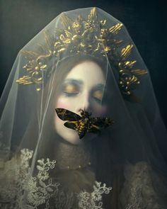"""The White Queen"" by Giulia Valente fstoppers Portrait Makeup Dramatic wonderland Alice moth butterfly fineart 115193702957079958 Dark Portrait, Photo Portrait, Woman Portrait, Pencil Portrait, Fantasy Photography, Fine Art Photography, Fashion Photography, Artistic Portrait Photography, Photography Poses"