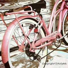 Retro Bicycle Photograph Pink Vintage Bike by KalstekPhotography, $30.00
