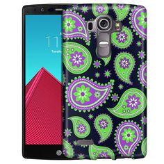 LG G4 Paisley Green Purple on Navy Slim Case