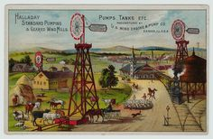 xRARE Advertising Trade Card - Halladay Windmill & Pumps 1884- Batavia IL Engine
