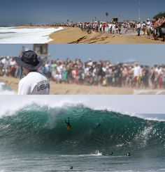 When the Wedge in Newport Beach, California gets big, crowds of thousands of people gather to watch the show of bodyboarders and bodysufers charge huge waves.