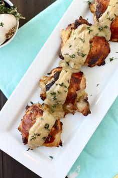 Roasted Chicken with Garlic Buttermilk Cream Sauce