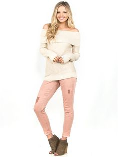 zoom image of Sasha Ankle Skinny Coral Ultra Jeans Chic Clothing, Chic Outfits, Vanity, Coral, Ankle, Skinny, Jeans, Sweaters, Image
