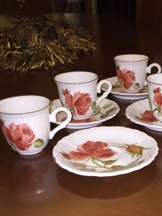 Hand painted porcelain coffee cups