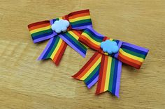 Items similar to Rainbow Cloud Ribbon Hair Clip Bows, multi colour hair accessory barette, girls or women, celebration gift pride, colourful crocodile chip on Etsy Rainbow Cloud, Over The Rainbow, Ribbon Hair Clips, Classroom, Bows, Craft Ideas, Unique Jewelry, Places, Handmade Gifts