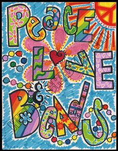peace, love, beads poster design by Lauren Woodall...Hippie Chick on Etsy
