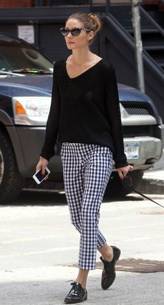 Street Style | Olivia Palermo - Gingham pants!