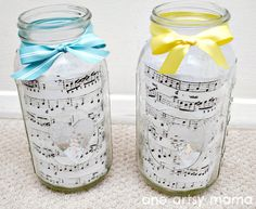 Cool mason jar DIY with music sheet Love this music sheet candle holder Check out our blog for a ton of music sheet DIY project and vinyl record upcycle