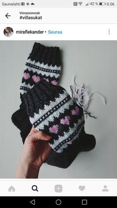 This Pin was discovered by San Knitting Charts, Knitting Socks, Hand Knitting, Knitting Patterns, Cozy Socks, Yarn Over, Handicraft, Arm Warmers, Mittens
