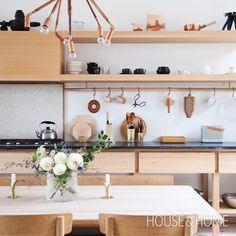 Scandinavian-Style Kitchen Design | See inside the home of John Baker and Juli Daoust Baker of Mjolk. | #interiordesign #kitchendesign #contemporary #japanesedesign #scandinaviandesign #modern | Click here to watch the video tour: http://houseandhome.com/tv/segment/bright-warm-scandinavian-modern-family-home