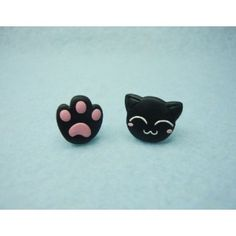 Cat + Pawprint, gato,huella,pendientes,earrings,fimo,animal,pet,mascota,