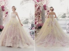 When a laced pink ball gown meets airy yellow tulle, the result of this Stella de Libero gown is pure romance!