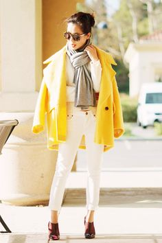 Winter Chic: White Jeans and Boxy Coat - Hallie Daily