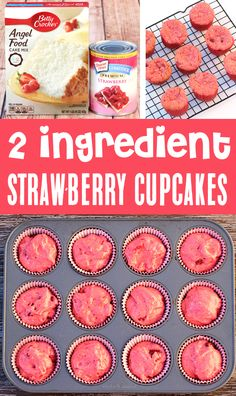Strawberry Angel Food Cake, Angel Food Cake Desserts, Angel Food Cupcakes, Strawberry Desserts, Yummy Cupcakes, Easy Desserts, Delicious Desserts, Cupcake Cakes, Easy Few Ingredient Desserts