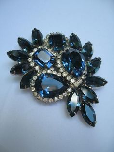 Kramer Vintage Designer Sapphire-Blue Rhinestone Crystal Brooch from eyecandy on Ruby Lane