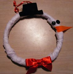 Quick and Easy Mini Wreath - Make this Christmas craft in 10 minutes. Cover it in white tissue paper and use felt scraps for the nose, eyes and hat.