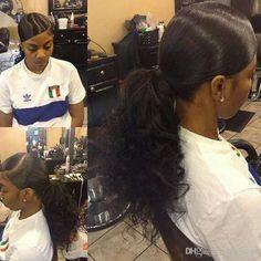 Little black girl ponytail hairstyles short hair Weave Ponytail Hairstyles, Ponytail Styles, Curly Hair Styles, Natural Hair Styles, Curly Ponytail Weave, Side Ponytails, Dope Hairstyles, Hair Ponytail, Slicked Back Ponytail