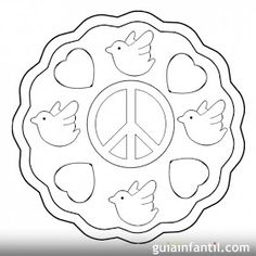 SGBlogosfera. Amigos de Jesús: MEDALLAS PARA LA PAZ Peace Crafts, International Day Of Peace, Cool Coloring Pages, Remembrance Day, World Peace, Stained Glass Patterns, Adult Coloring, Peace And Love, Religion