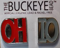 OH-IO Scarlet & Gray Post Earrings Ohio State Buckeyes Jewelry The Buckeye Bead on Etsy, $9.95