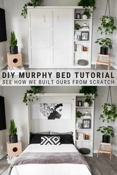 DIY Murphy Bed Plans & Our Modern DIY Murphy Bed! DIY Murphy Bed Plans & Our Modern DIY Murphy Bed!,DIY Decor DIY murphy bed tutorial, see how we built ours from scratch! Diy Furniture Easy, Diy Furniture Projects, Home Projects, Bedroom Furniture, Murphy Furniture, Diy Furniture Modern, Diy Bedroom Projects, Diy Furniture For Small Spaces, Garden Furniture