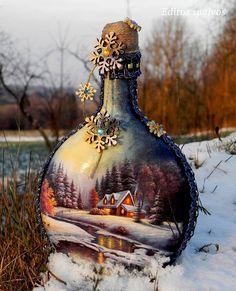 Botellas Wine Bottle Art, Diy Bottle, Wine Bottle Crafts, Bottle Lamps, Wine Bottles, Decoupage Glass, Decoupage Vintage, Crafts With Glass Jars, Jar Art