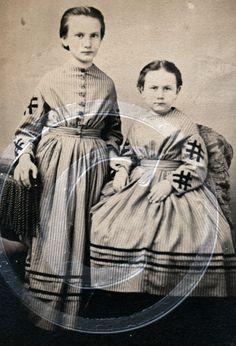 Charming Civil War Era Siblings Children Girls in Matching Dresses Albumen CDV   eBay