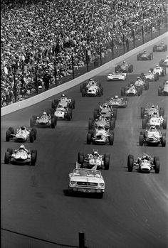 1964 Pace Lap...Indy. Look at the variety of cars. Now it is just a spec series.