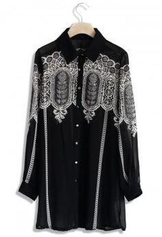 Lace Print Chiffon Oversize Shirt in Black - Tops - Retro, Indie and Unique Fashion