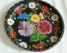 Vintage Huge Mexican Batea Tole Tray Folk Art Hand Painted 18 W   eBay