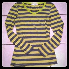 Green & Grey Stripe Long sleeve Super soft top. Excellent condition. No holes or stains. Bundle for discount Tops Tees - Long Sleeve
