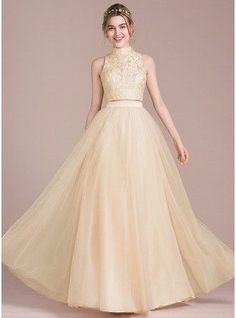 A-Line Princess Scoop Neck High Neck Floor Length Tulle Prom Dress