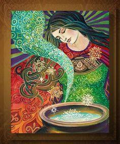 Cerridwen's Cauldron  Art Nouveau Goddess 16x20 by EmilyBalivet, $65.00
