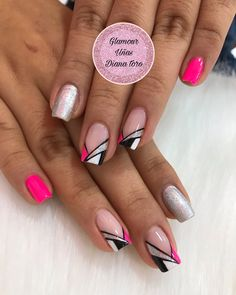 Square Nail Designs, Gel Nail Art Designs, Nail Manicure, Gel Nails, Nail Art For Beginners, Geometric Nail Art, Fire Nails, Best Acrylic Nails, Simple Nails
