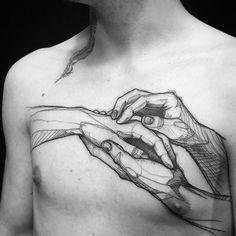loiseautattoo, tattoo, ink, inked, chest, splatter, handshake, bw, feather Tattoo Artist: L'oiseau · Franck Soler