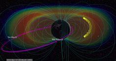 Flujo ELECTRO-MAGNÉTICO alrededor de la tierra: IMAGEN cinturón de Van Hallen Tormenta geomagnética ONDA DE CHOQUE VIDEO