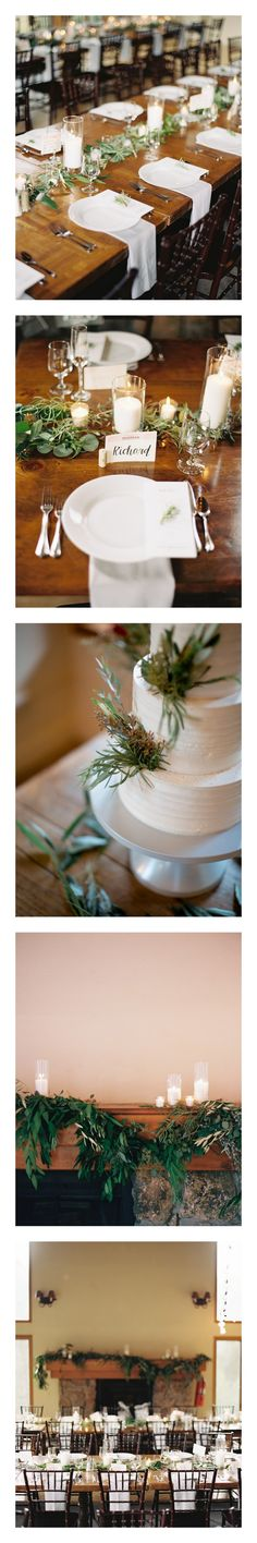 www.theeventpro.com, brumley & wells photography, Mandy & Josh Elegant Natural Greenery Colorado Mountain Wedding, Simply elegant & minimalist style, candles, wood tables, table garland, floral runner