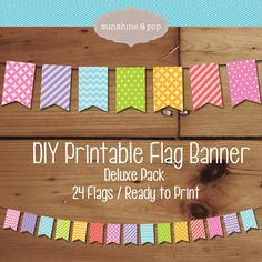 Rainbow DIY Party Printable Flag Banner  SUPER PACK- perfect for events, outdoor parties, decorations, weddings, and all paper crafts. $7.99, via Etsy.